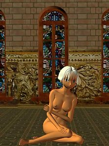 Nude 3D Girl Kiki with Tiny Boobs Posing at Church