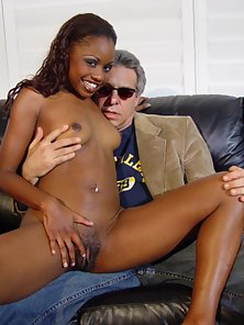 Skinny Black Chick Spreading and Seducing Her Aged Partner