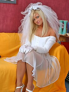 Blonde Camellia in Bridal Dress Enjoying Twat Fingering On Yellow Sofa