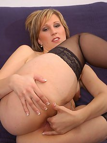 Naughty Blonde Dildoing Herself Over Couch