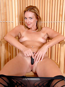 Petite stockings babe teases her pussy with toys