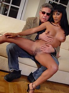 Ebony Babe on Couch Gets Seduced by Aged Partner on Webcam
