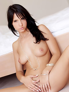 Stunning Brunette Monika Masturbates Her Wide Fanny and Enjoys Sexual Pleasure