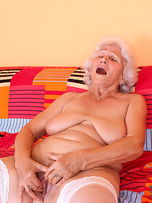 Fat Blonde Granny Fingering Pussy and Making Herself Happy