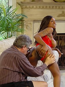 Lusty Black Babe Enjoys Nice Oral Pleasure with Aged Dude from Behind