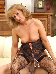Brown Haired Hot Milf Fucked By a Young Boy on Couch
