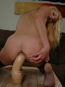 Stocking Wearing Blonde Cougar with Incredible Pleasure Screws Dripping Snatch