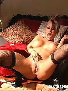 Busty Blonde Whore in Stockings Fingering and Tickling Fanny