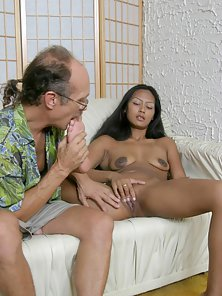 Skinny Ebony Chick Takes Foot Sucking from Old Dude