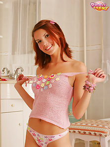 Redhead Horny Chick Displays Her Pink Cunt and Perfect Tits