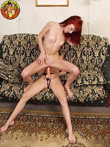Red Head Teen with Her Partner Rides on Large Strap on for Hammering