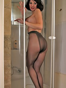 Brunette Chick Enjoying Bathing inside Bathroom