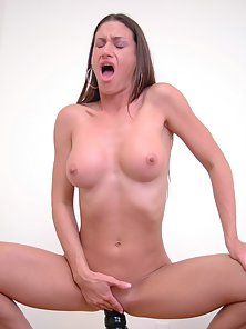 Skinny Chick Alissa Gets Fucked by Her Huge Dildo on Camera