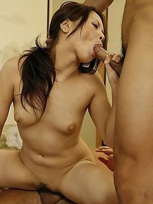 Small Boobs Babe Hinayo Motoki Spitroasted by Her Dudes Big Cocks