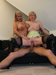 Blonde milf and her friend rammed by a stiff dick