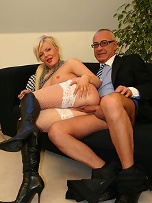 Beautiful Blonde with Old Man Merged in Hardcore Sex Indoors