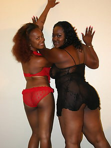 Horny Ebony with Her Skinny Friend Enjoying Lesbian Sex on Bed