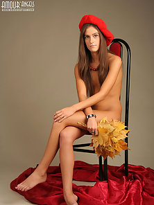Skinny Slut in Naked Body Sitting on Chair for Photoshoot