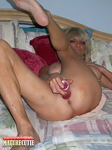 Buxom Blonde MILF Banging Craving Snatch with Fat Dildo
