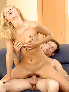 Blonde Deeply Nailed by Her Boyfriend on Couch