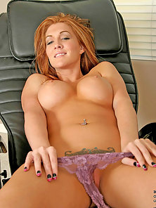Busty Red Headed Anilos Dildoing Her Hungry Fanny in Delight Mood