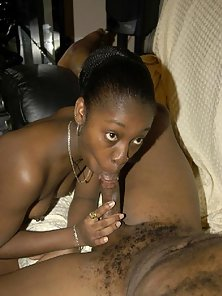 Ponytail Ebony Babe Gives Blowjob and Fucked Hard By Her Partner on Couch