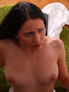 Brunette Babe Squeezed and Fucked Hard With Huge Pleasure
