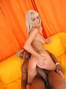 Blonde after Showing Naked Figure Riding Over Massive Black Dick