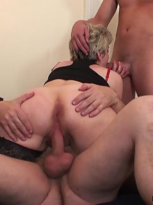 Blonde Granny Sucks and Fucked By Two Meaty Cocks