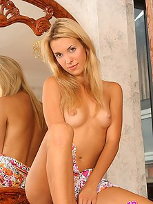 Beautiful Blonde Silvia Exhibits Her Flawless Naked Figure