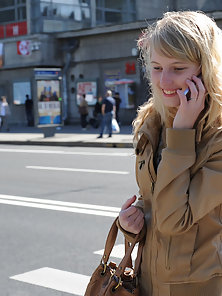 Slender Babe Talking in Phone while Wondering in Public