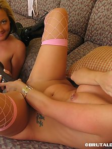 Busty Two Horny Chicks Sophia and Taylor Share Dildo for Deep Hammering