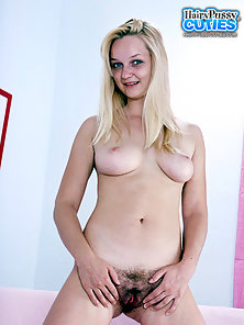 Blonde Teen Takes off Her Panty for Showing Bushy Twat Hole