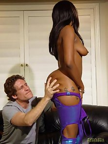 Busty Black Babe Enjoys Deep Blowjob with Her Hunky White Partner