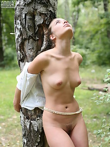 Lovely Naked Girl Outdoors Posing During Photoshoot