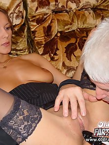 Round Tits Blonde Teen with Black Stocking Rubbing Muff and Then Blowjob