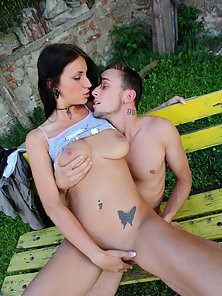 Brunette Alina Gets Licked and Enjoys Deep Pounding Outdoors