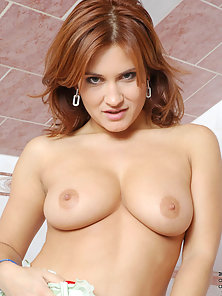 Redhead Valentine Rush Strips Her Panties and Plays with Yummy Clunge