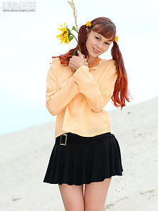 Pig Tail Red Head Chick Showing Her Tight Twat at Outdoor