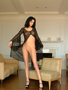 Brunette Chick Squeezed Her Small Boobs in Closed Room