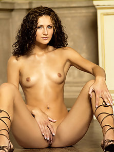 Curly Hair Petite Andrea Spreads and Exposes Her Sexy Bare Figure in Joyous Mood