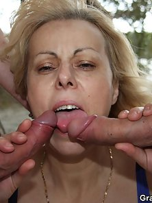 Fatty Blonde Lady Gets Her Face Cum Plastered After Hard Drilling By Guys in Beach