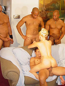 Seductive Blonde Enjoys Gangbang Hammered by Meaty Dick