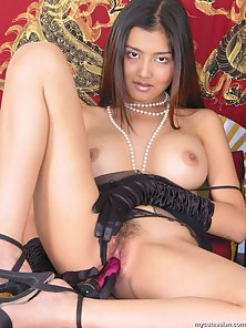 Black Gloves Wearing Babe Enjoys Toying Her Tight Pussy by Herself