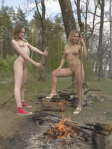 Horny Blonde Babes with Fully Naked Body Shows Their Nice Ass And Boobs At Outdoor