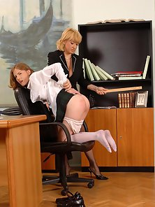 Hot secretary babe spanked hard on her bubble ass