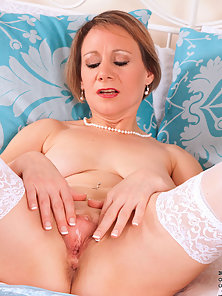 Lovely Mature Lady Tiffany Wearing White Stocking Showing Sexual Parts