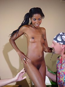 Skinny Ebony Chick Exposes Her Bare Body with Hairy Cunt to White Partner