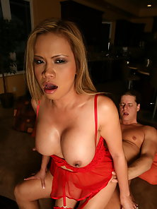 Red Stockings Wearing Babe Mika Kani Enjoys Reverse Cowgirl Nailed