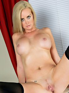 Lusty Blonde Camryn Cross Flaunts Big Tits and Spreads Legs Wide Open